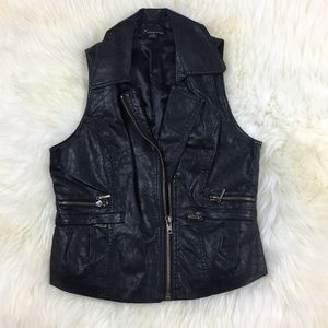 Forever 21 Faux Leather Moto Vest Sz L